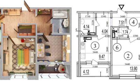 Схемы планировок 2х комнатных квартир